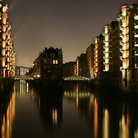 Picture - Warehouse District or Speicherstadt at night, Hamburg.