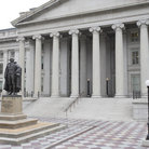 Picture - The Greek revival architecture of the Treasury Building, Washington.