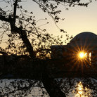 Picture - Sun shining through the Jefferson Memorial in Washington.