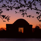 Picture - Sunrise over the Jefferson Memorial in Washington.