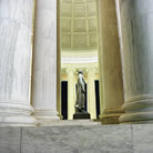 Picture - Interior of the Jefferson Memorial at night in Washington.
