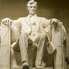 Picture - President Abraham Lincoln's statue in his memorial, Washington.