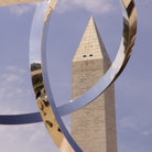 Picture - A sculpture in front of the Washington Monument in Washington.