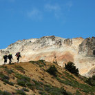 Picture - Hikers entering Glacier Basin en Route to Camp Shurman on Mt. Rainier.