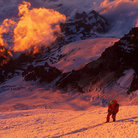 Picture - A climber on Mount Rainier nearing the summit.