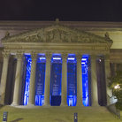 Picture - Evening view of the National Archives building in Washington.