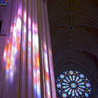 Picture - Brilliantly colored stained glass of National Cathedral, Washington.