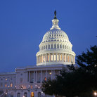 Picture - Evening view of the United States Capitol in Washington.