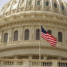 Picture - Capitol dome and flag in Washington.