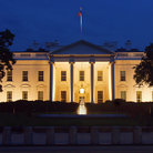 Picture - West side of the White House at night in Washington.