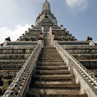 Picture - Looking up Phra Prang pagoda at Wat Arun temple in Bangkok.
