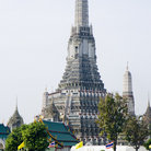 "Picture - Full view of Wat Arun (""Temple of the Dawn"") along the Chao Phraya River in Bangkok."