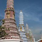 Picture - Pagodas at the Temple of Reclining Buddha, Bangkok.