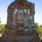 Picture - A Buddha Carving on Wall at Wat Phra Ram in Ayutthaya.