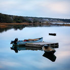 Picture - Boats anchored in calm water at Wellfleet, Cape Cod.