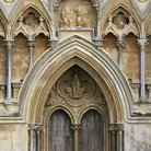 Picture - Wooden doors of the Wells Cathedral in Somerset.
