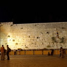 Picture - The wailing wall at night in Jerusalem.
