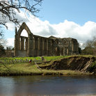 Picture - Waterfront at the ruins of Bolton Abbey in Yorkshire.