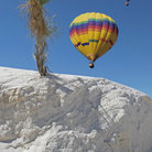 Picture - Hot air balloons over White Sands National Monument.