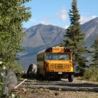 Picture - School Bus parked in Wrangell National Park.