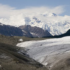 Picture - Mount Blackburn rises over the Root and Kennecott Glaciers.