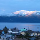 Picture - Sunrise on the mountains of Wrangell Island.