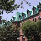 Picture - The roof line of the dorms at Yale University in New Haven.