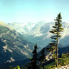 Picture - A view of mountains surrounding Yoho Valley, from iceline hiking trail in Yoho National Park.
