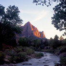 Picture - The Virgin River and the Watchman in Zion National Park.