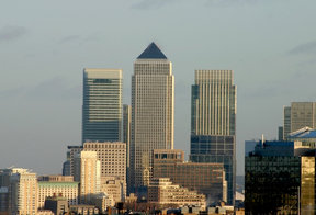 Picture - View of Canary Wharf from the distance, London.