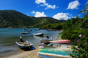 Picture - Boats on shore at Coral Bay, St John.