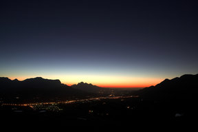 Picture - Sunset over the town of Franschhoek.