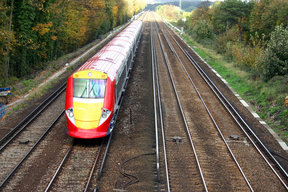 Picture - Streamline Gatwick airport express trains in London.