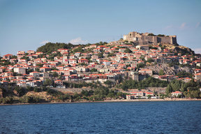 Picture - View over a town on the Island of Lesbos.