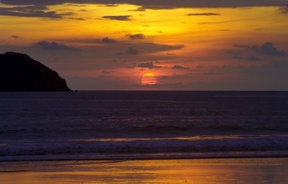 Picture - Sunset on the beach in Manuel Antonio.