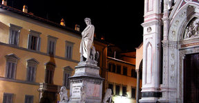 Picture - The Piazza Santa Croce at night in Florence.