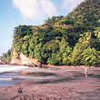 A remote black sand beach along the northwest coast of Martinique.