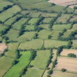 Aerial view of fields in Derbyshire.