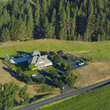 Aerial view of upscale farm house in Eastern Washington.
