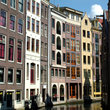 Buildings on a canal in Amsterdam.