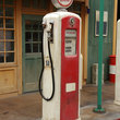 Antique gas station and pump, Idaho.
