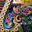Colorful dragon statue at Hindu temple on Bali.