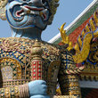 A Statue of the Yaksha Demon guarding the main entrance of Wat Phra Kaeo in Bangkok.