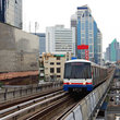 Train over Sukhumvit Road in Bangkok.