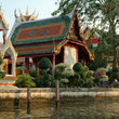 Temple on the klongs of the Chao Phraya River in Bangkok.