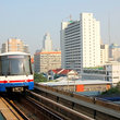 Bangkok skytrain nearing the downtown Siam station.
