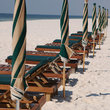 Beach Chairs line the White Sand, Gulf Coast of Alabama.