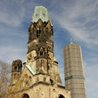 The tower of the Kaiser Wilhelm Memorial Church in Berlin.