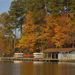 Boathouse in William B. Umstead State Park, North Carolina.