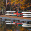 Boats in dry dock, William B. Umstead State Park, North Carolina.